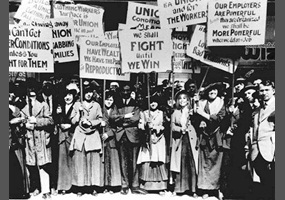 Suffragists demanding the vote
